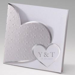 faire part mariage chic coeur blanc argent gris - Belarto Bella 725117-W