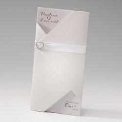 faire part mariage chic crème nacre coeur strass - Belarto Bella 725004-W