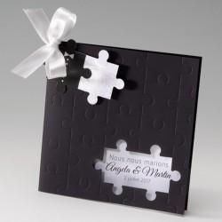 faire part mariage original noir puzzle - Belarto Bella 725073-W