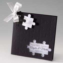 Faire part mariage original noir puzzle Belarto Celebrate Love 725073-W