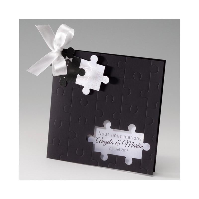 Fabuleux faire part mariage original noir puzzle Belarto Bella 725073-W CR23