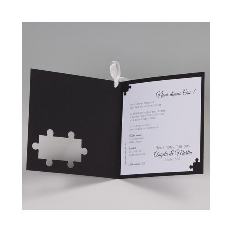 Connu faire part mariage original noir puzzle Belarto Bella 725073-W KM85