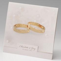 faire part mariage classique alliances dorées - Belarto Bella 725011-W