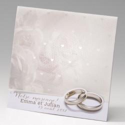 faire part mariage classique alliances fleurs - Belarto Bella 725033-W
