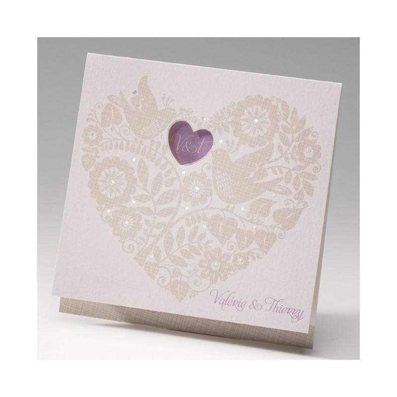 faire part mariage cr me coeur fleur oiseau belarto bella 725006. Black Bedroom Furniture Sets. Home Design Ideas