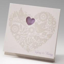 faire part mariage crème coeur fleur oiseau - Belarto Bella 725006-W