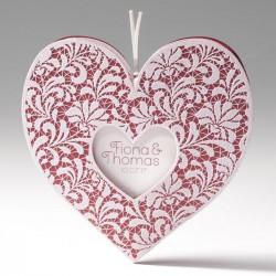 faire part mariage original coeur bordeaux encre de Suède dentelle - Belarto Bella 725041-W