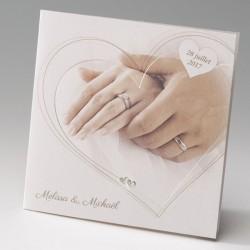 faire part mariage classique mains alliances coeurs - Belarto Bella 725013-W