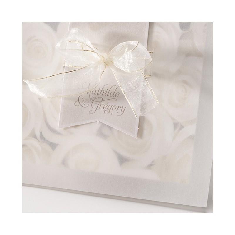 Faire part mariage roses blanches ruban dorure belarto bella 725031 - Faire part mariage chic et romantique ...