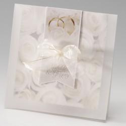 faire part mariage romantique chic roses blanches ruban dorure - Belarto Bella 725031-W