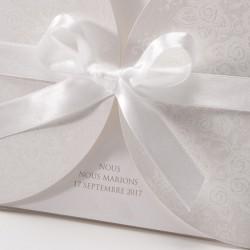 Faire part de mariage chic crème arabesque noeud blanc BELARTO Love 726911