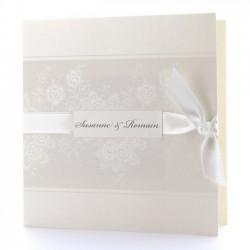 Faire part de mariage élégant crème arabesque ruban BELARTO Romantic 726906-W