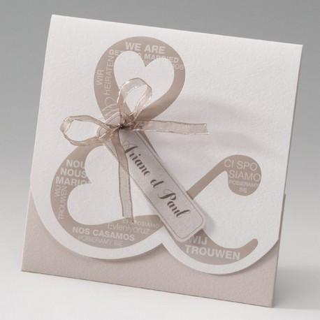 faire part mariage original pochette esperluette marron - Belarto Bella 725122-W