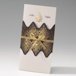 faire part mariage oriental crème noir arabesques dorées - Belarto Bella 725091-W