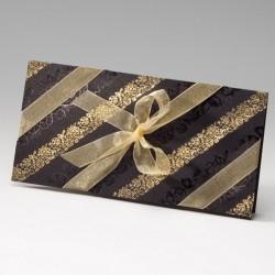 faire part mariage oriental noir fleurs dorées ruban - Belarto Bella 725092-W
