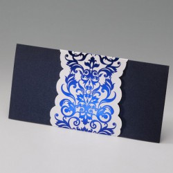 faire part mariage élégant arabesque bleu perle - Belarto Bella 725096-W