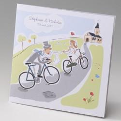 faire part mariage humoristique mariés en vélo - Belarto Bella 725049-W