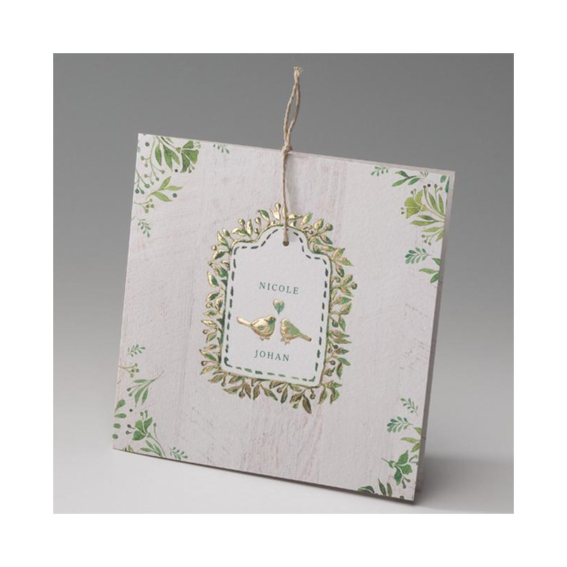 faire part mariage vintage nature cr me oiseaux dorure belarto bella 725082. Black Bedroom Furniture Sets. Home Design Ideas