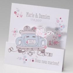 Faire part mariage humoristique couple voiture fleurs - Belarto Bella 725047-W