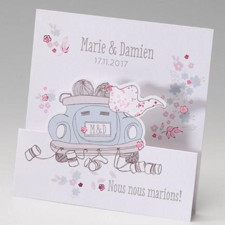 faire part mariage humoristique couple voiture fleurs belarto bella 725047 w. Black Bedroom Furniture Sets. Home Design Ideas