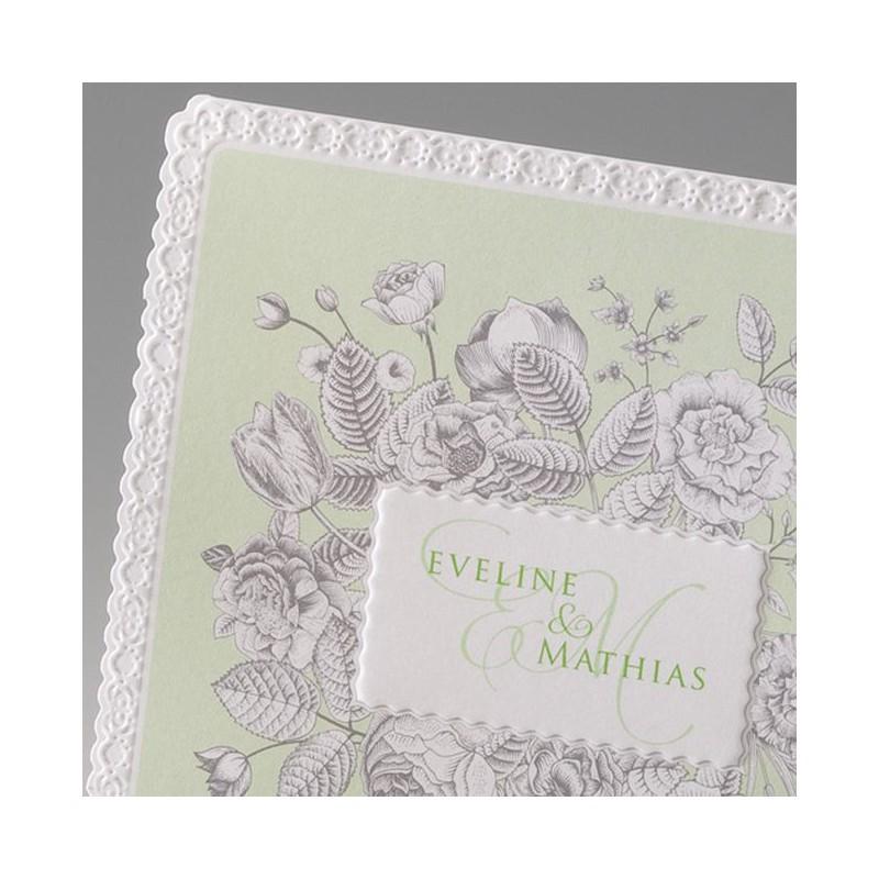 faire part mariage vintage fleur gaufrage effet dentelle belarto bella 725012. Black Bedroom Furniture Sets. Home Design Ideas