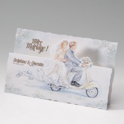 Faire part mariage vintage couple scooter - Belarto Bella 725055