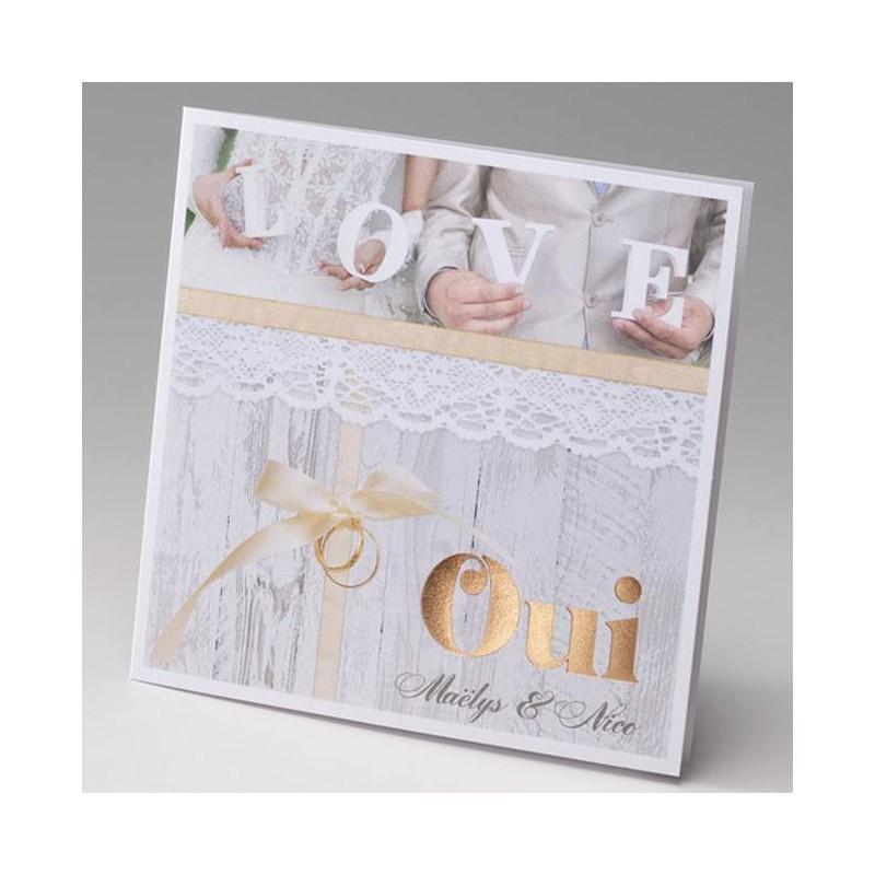 faire part mariage romantique chic dentelle vernis dor belarto bella 725123 w. Black Bedroom Furniture Sets. Home Design Ideas