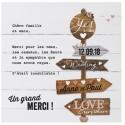 Carte lunch ou remerciements crème pancarte bois BELARTO Love 726507
