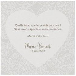 Carte lunch ou remerciements crème coeur arabesque irisé BELARTO Love 726568