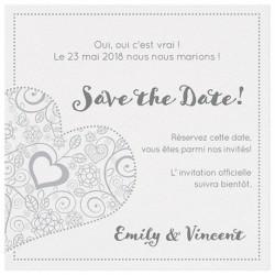 Carte lunch ou remerciements chic blanche coeurs gris-bleu BELARTO Love 726564