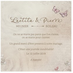Carte lunch ou remerciements nature vintage papillons BELARTO Love 726546
