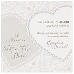 Carte lunch ou remerciements romantique crème coeurs taupe BELARTO Love 726550