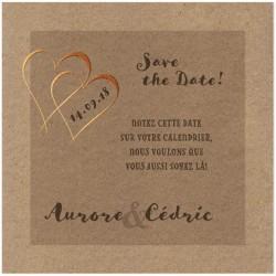 Carte lunch ou remerciements marron papier recyclé coeurs vernis BELARTO Love 726561