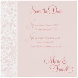 Carte lunch ou remerciements rose frise fleurs façon dentelle BELARTO Love 726572