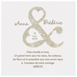 Carte lunch ou remerciements crème esperluette coeurs bronze BELARTO Love 726535