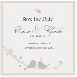 Carte lunch ou remerciements crème coeurs oiseaux BELARTO Love 726531