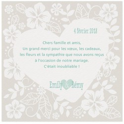 Carte lunch ou remerciements crème originale coeurs fleurs BELARTO Love 726508