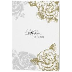 Menu mariage vintage fleurs dorées grises - Belarto Love 726657