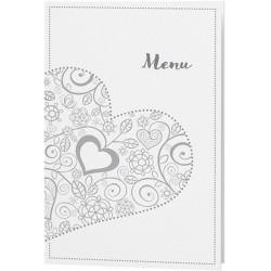 Menu mariage chic blanc coeurs gris - Belarto Love 726664