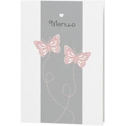 Menu mariage chic blanc gris papillons rose saumon - Belarto Love 726630