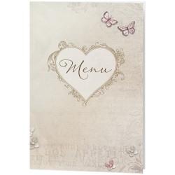 Menu mariage vintage nature coeur papillons - Belarto Love 726646