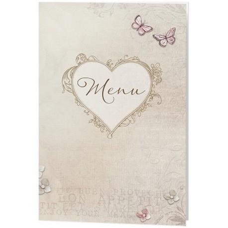 menu mariage vintage nature coeur papillons belarto love 726646. Black Bedroom Furniture Sets. Home Design Ideas