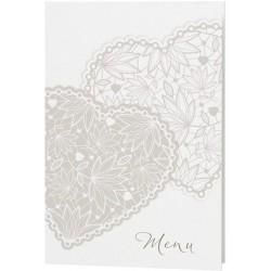 Menu mariage classique crème coeurs taupe - Belarto Love 726650