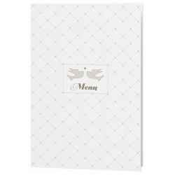 Menu mariage crème chic oiseaux coeurs vernis - Belarto Love 726629