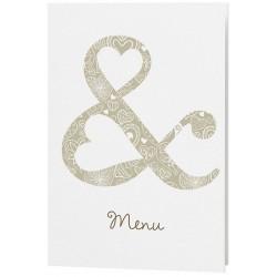 Menu mariage crème esperluette coeurs bronze - Belarto Love 726635