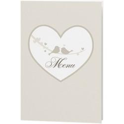 Menu mariage crème coeurs oiseaux - Belarto Love 726631
