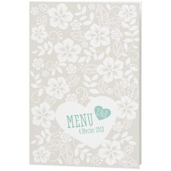 Menu mariage crème chic fleurs coeur - Belarto Love 726608