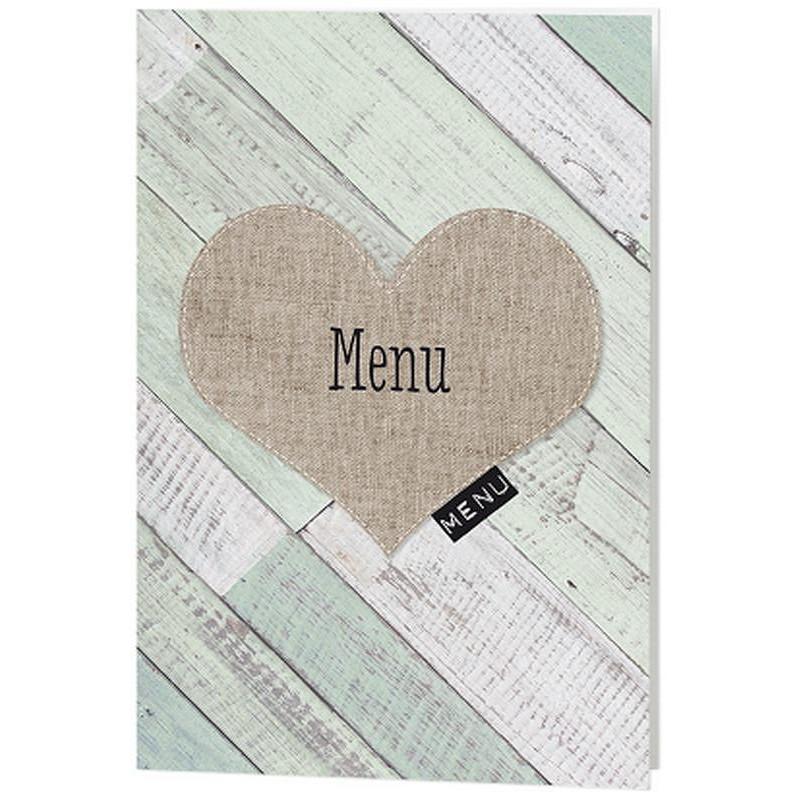 menu mariage nature bois peint coeur belarto love 726602. Black Bedroom Furniture Sets. Home Design Ideas