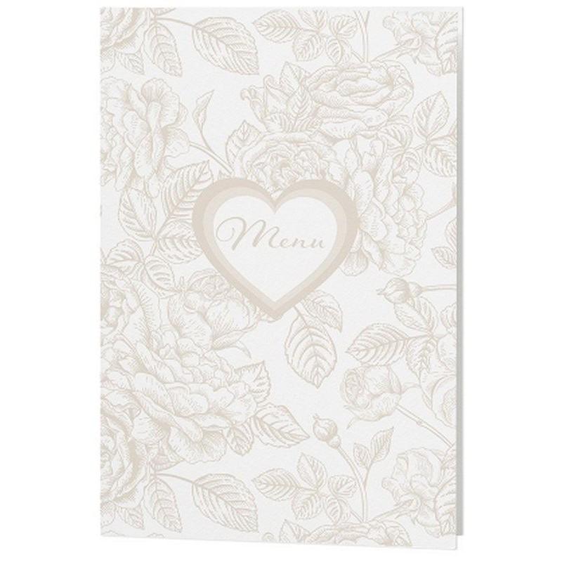 Menu Mariage Creme Coeur Fleurs Beige Belarto Love 726654