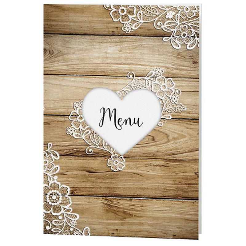 menu mariage vintage bois coeur dentelle belarto love 726603. Black Bedroom Furniture Sets. Home Design Ideas